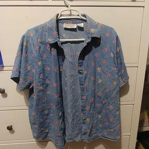 Rose Print Denim Shirt